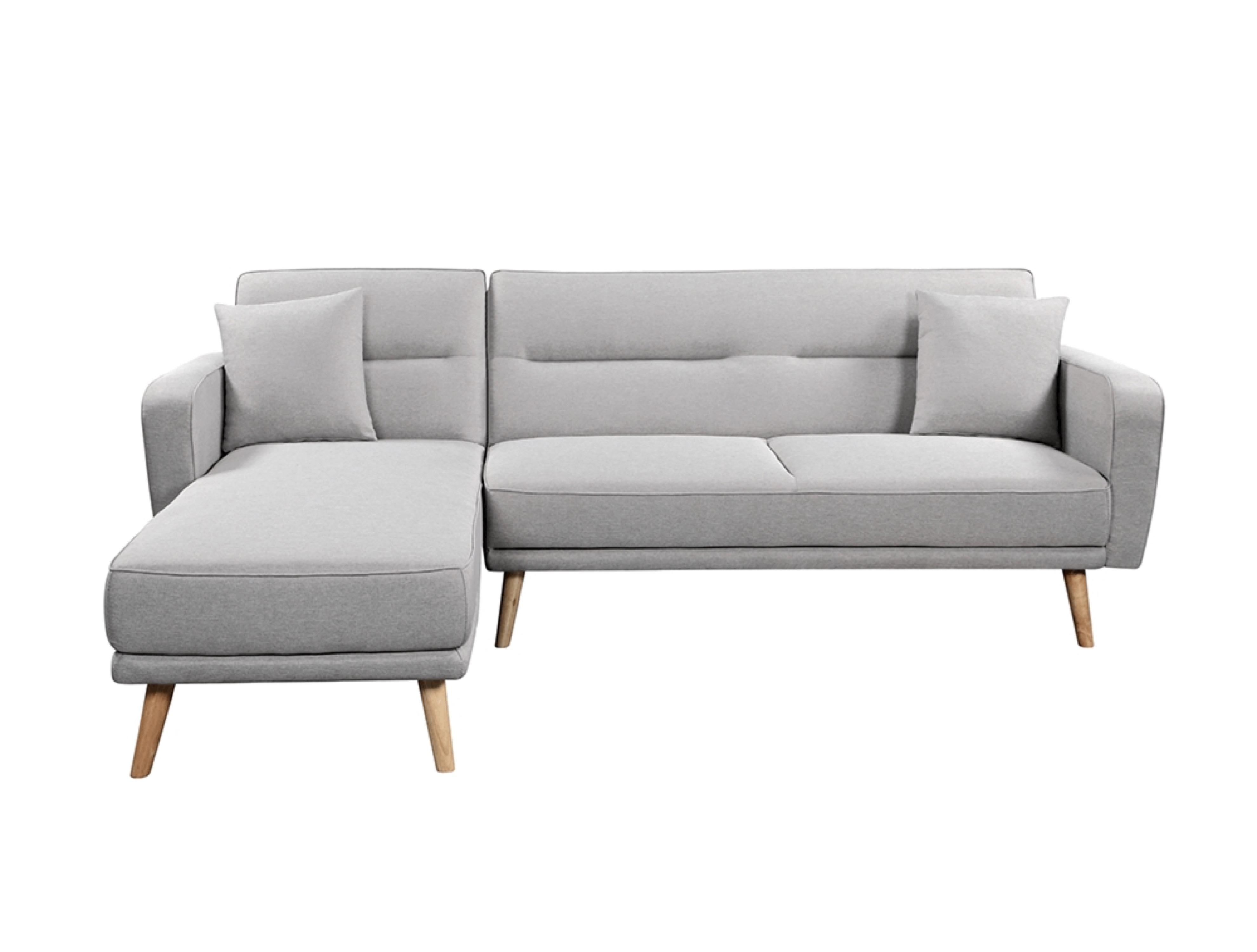 Canapé d'angle scandinave réversible convertible en tissu gris clair