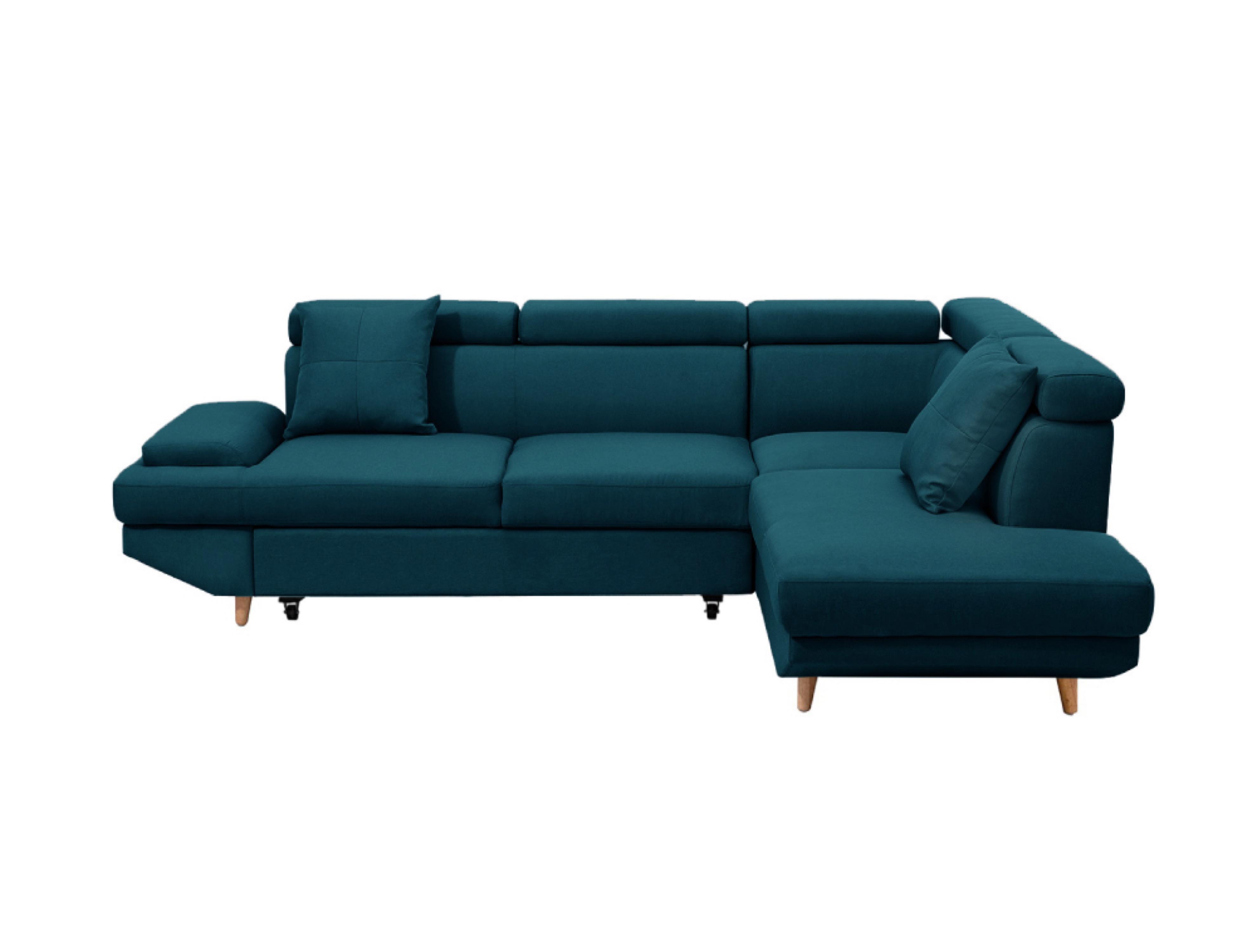 Canapé d'angle droit convertible style scandinave en tissu bleu