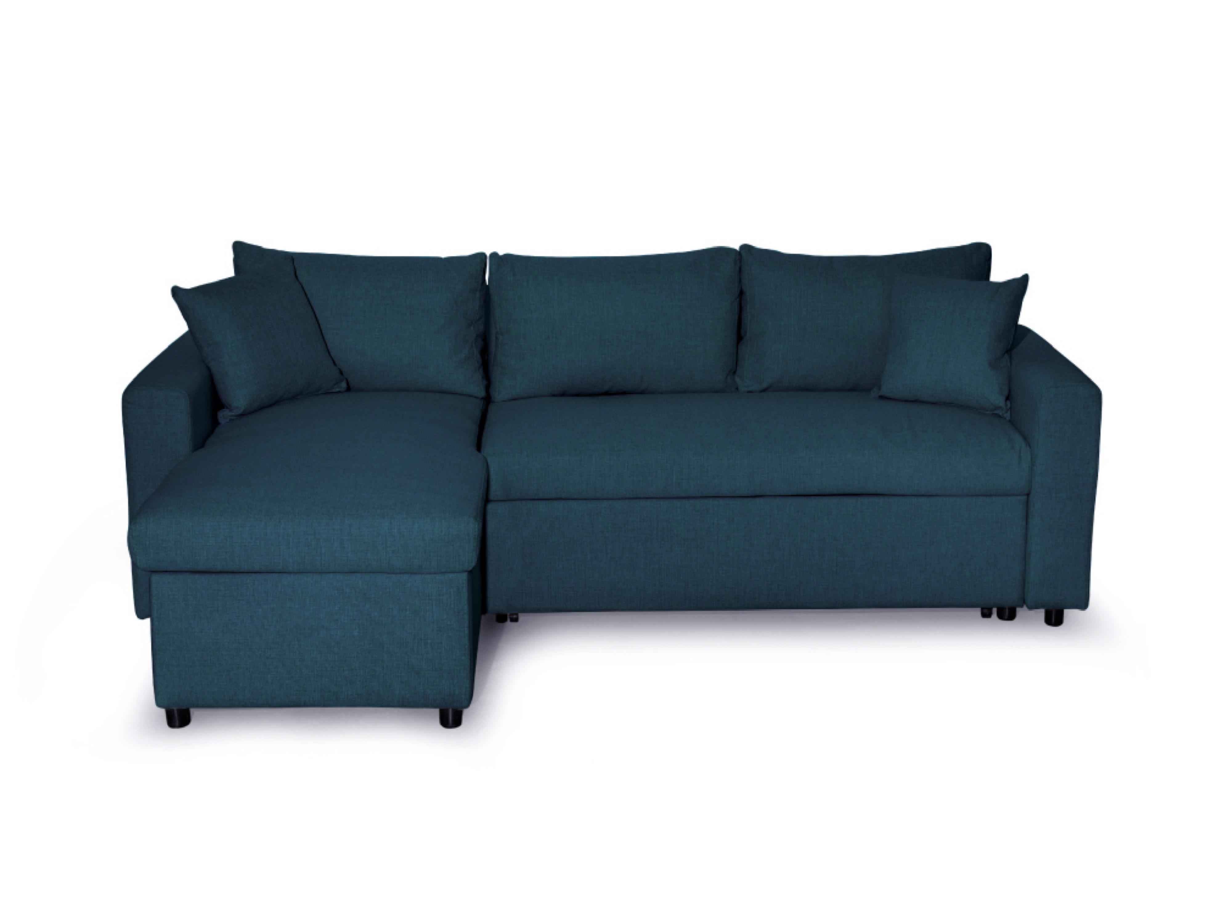 Canapé d'angle réversible convertible avec coffre en tissu bleu canard