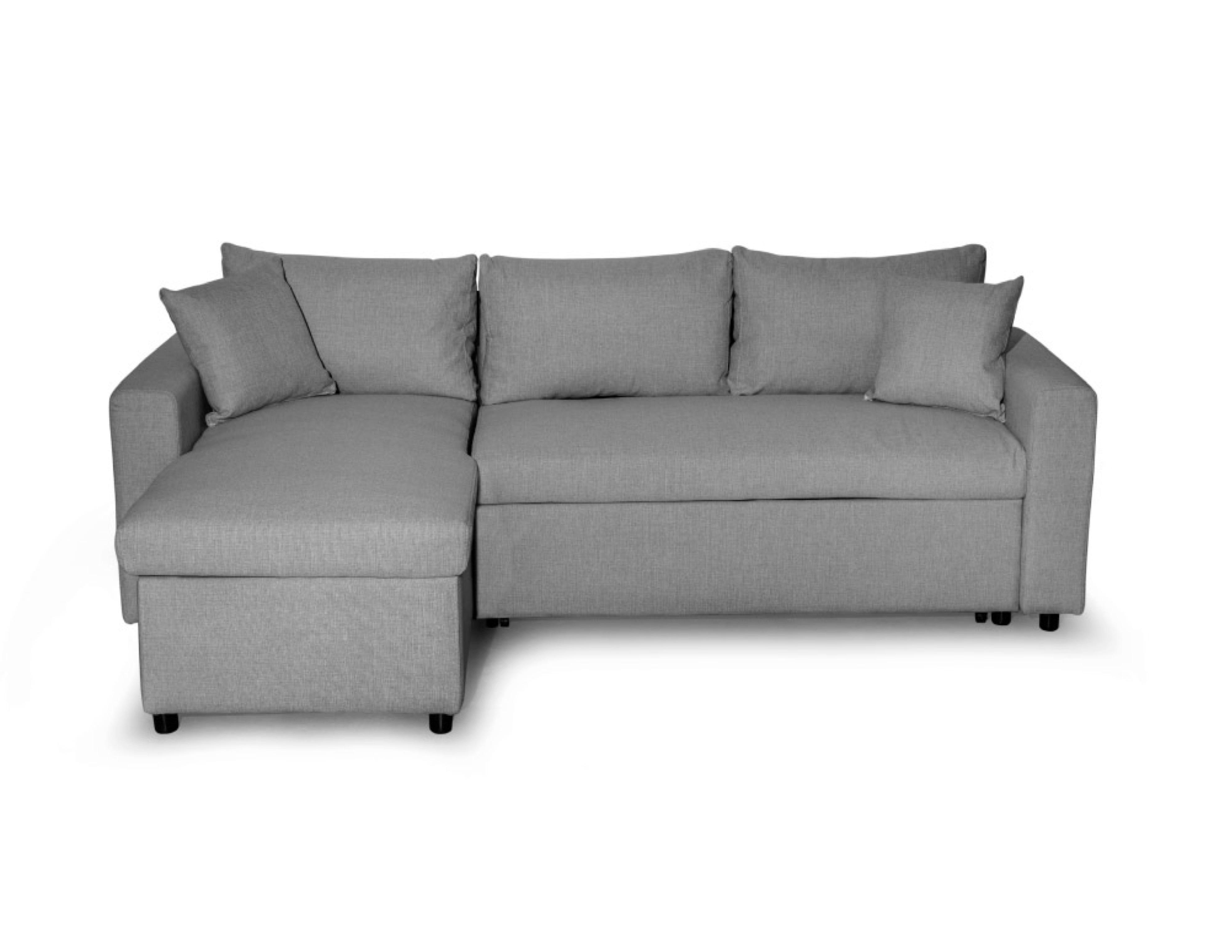 Canapé d'angle réversible convertible avec coffre en microfibre grise
