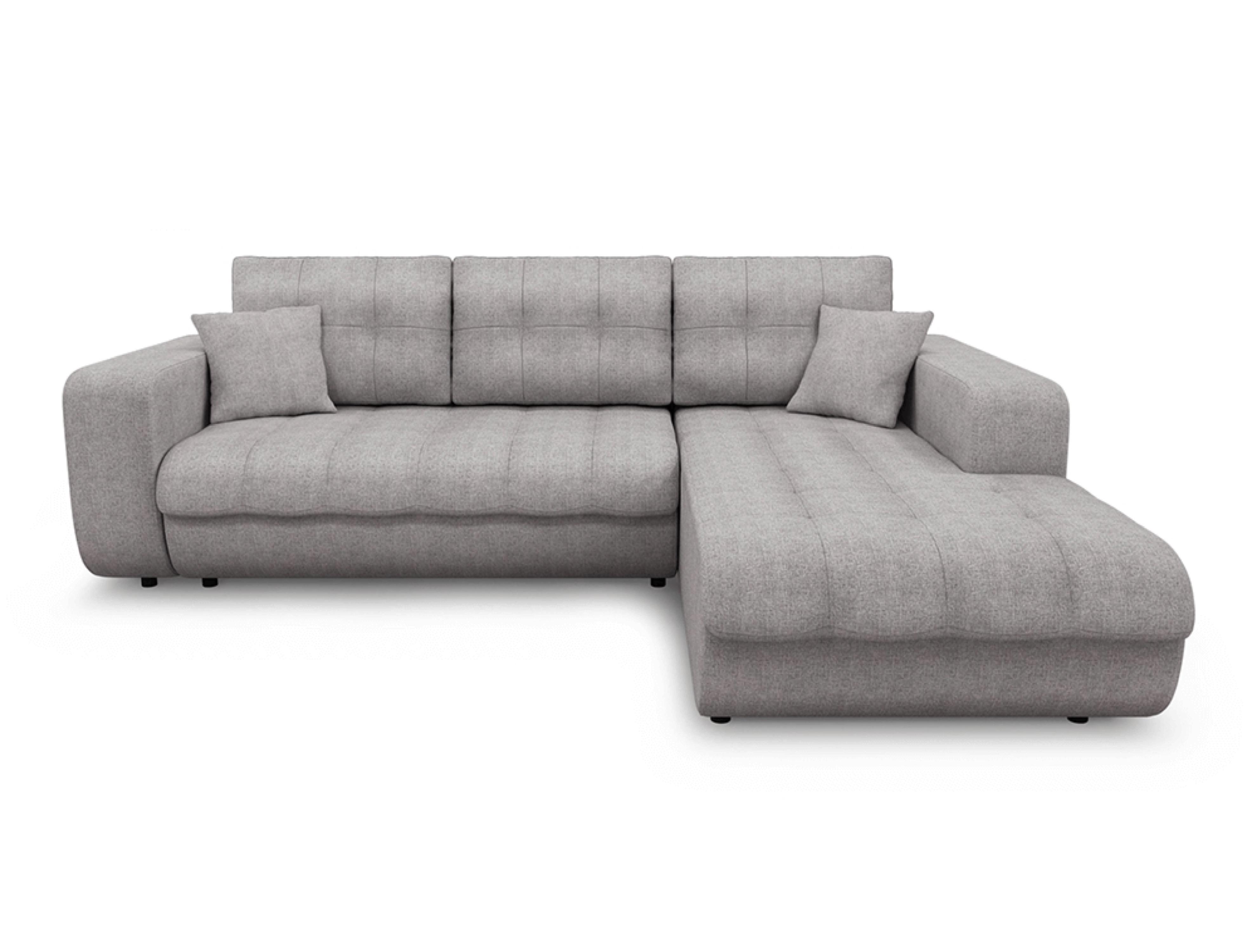 Canapé d'angle droit convertible en tissu gris clair