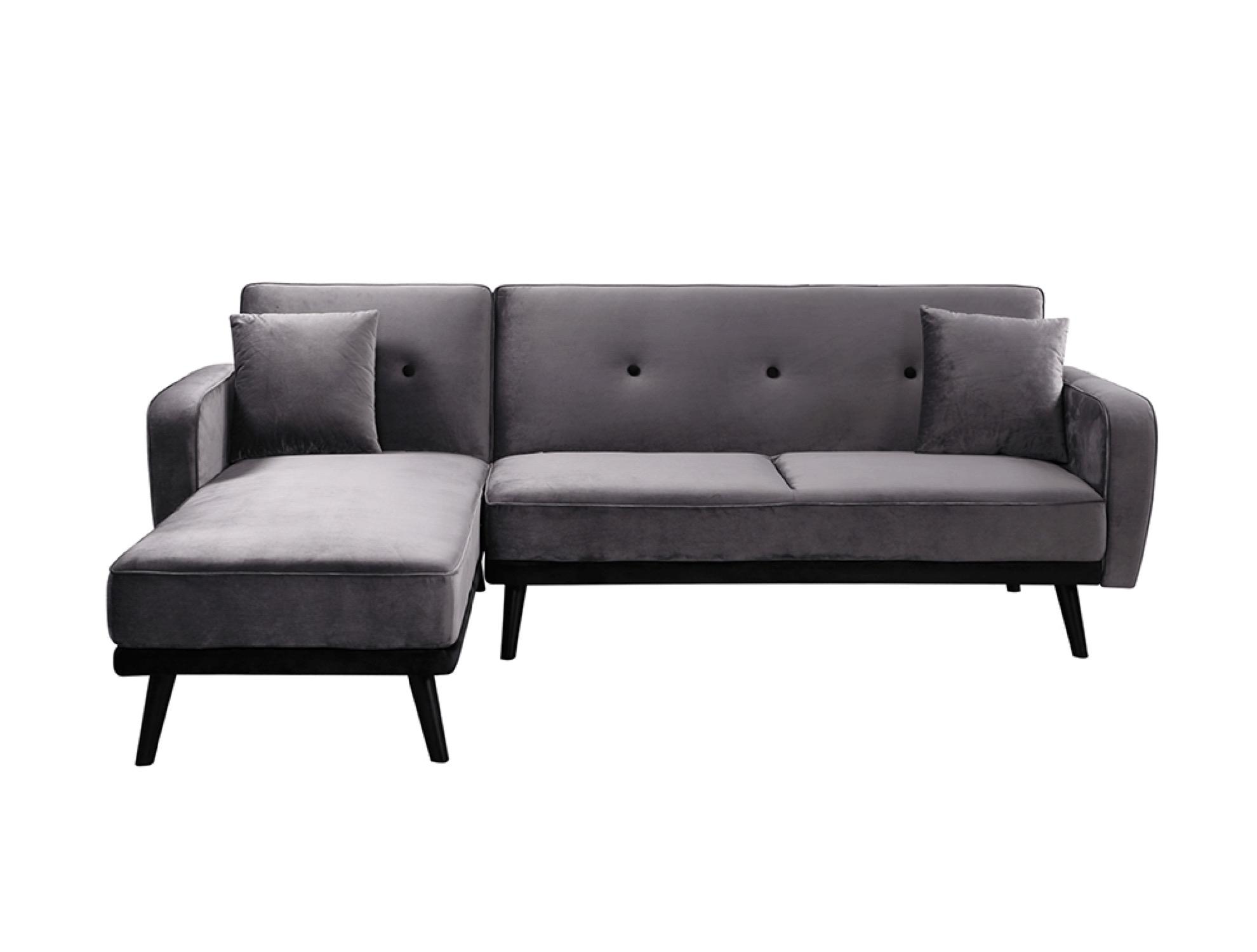 Canapé d'angle Noir Velours Design Confort