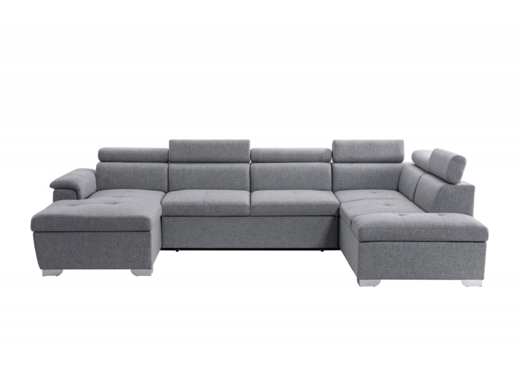 Canapé panoramique convertible avec coffre de rangement en tissu gris