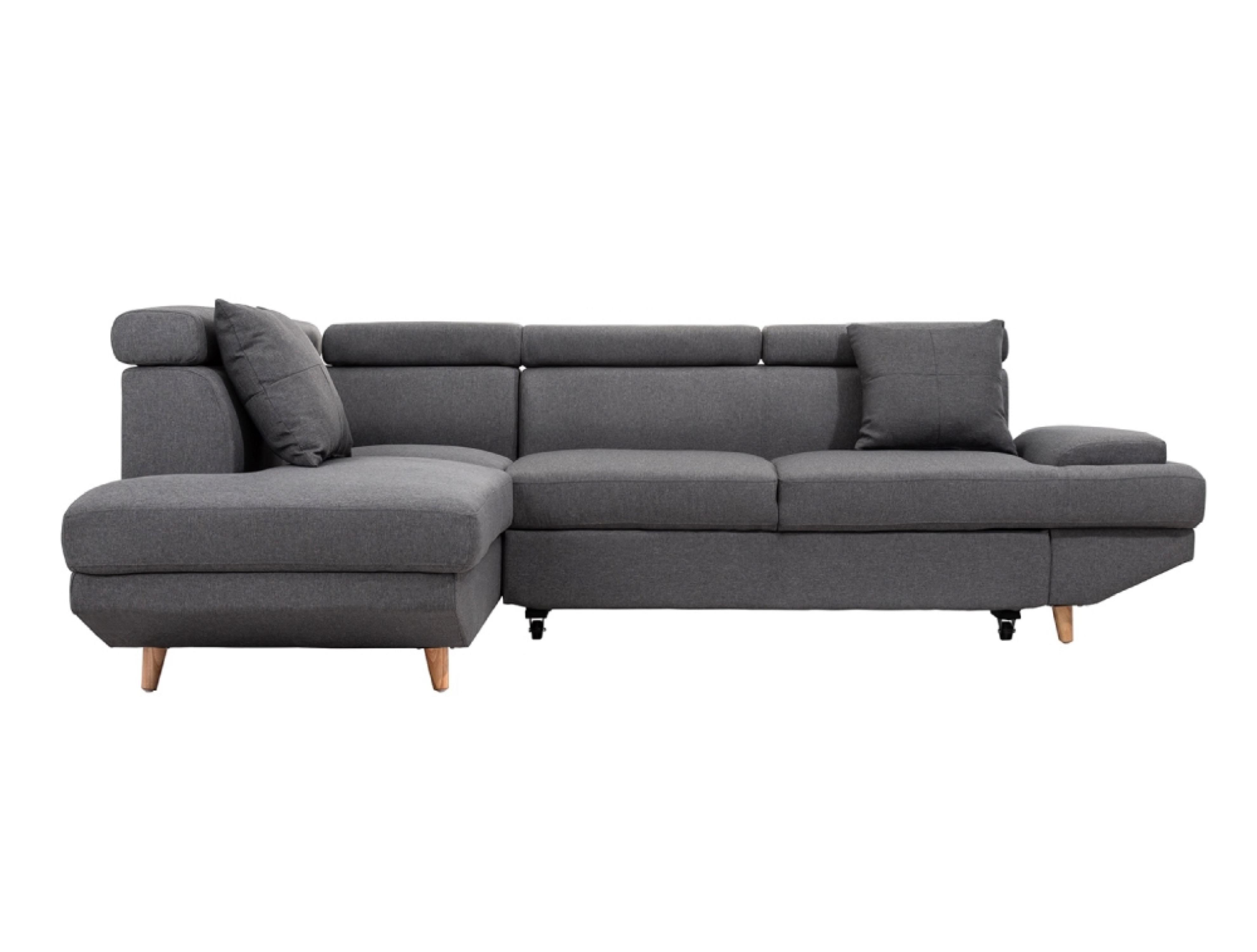 Canapé d'angle 4 places Gris Tissu Design Confort