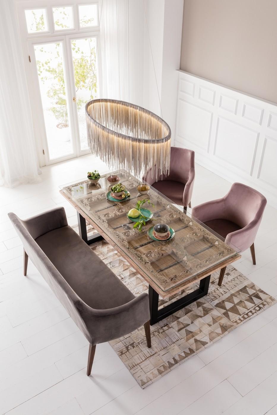 Table à manger 8 personnes en manguier massif et verre L200
