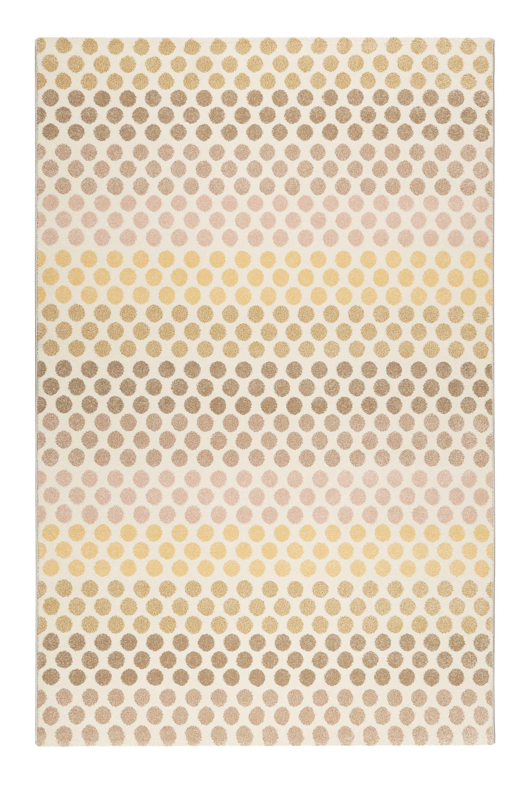Tapis motif pois à poils courts tons chauds 170x120