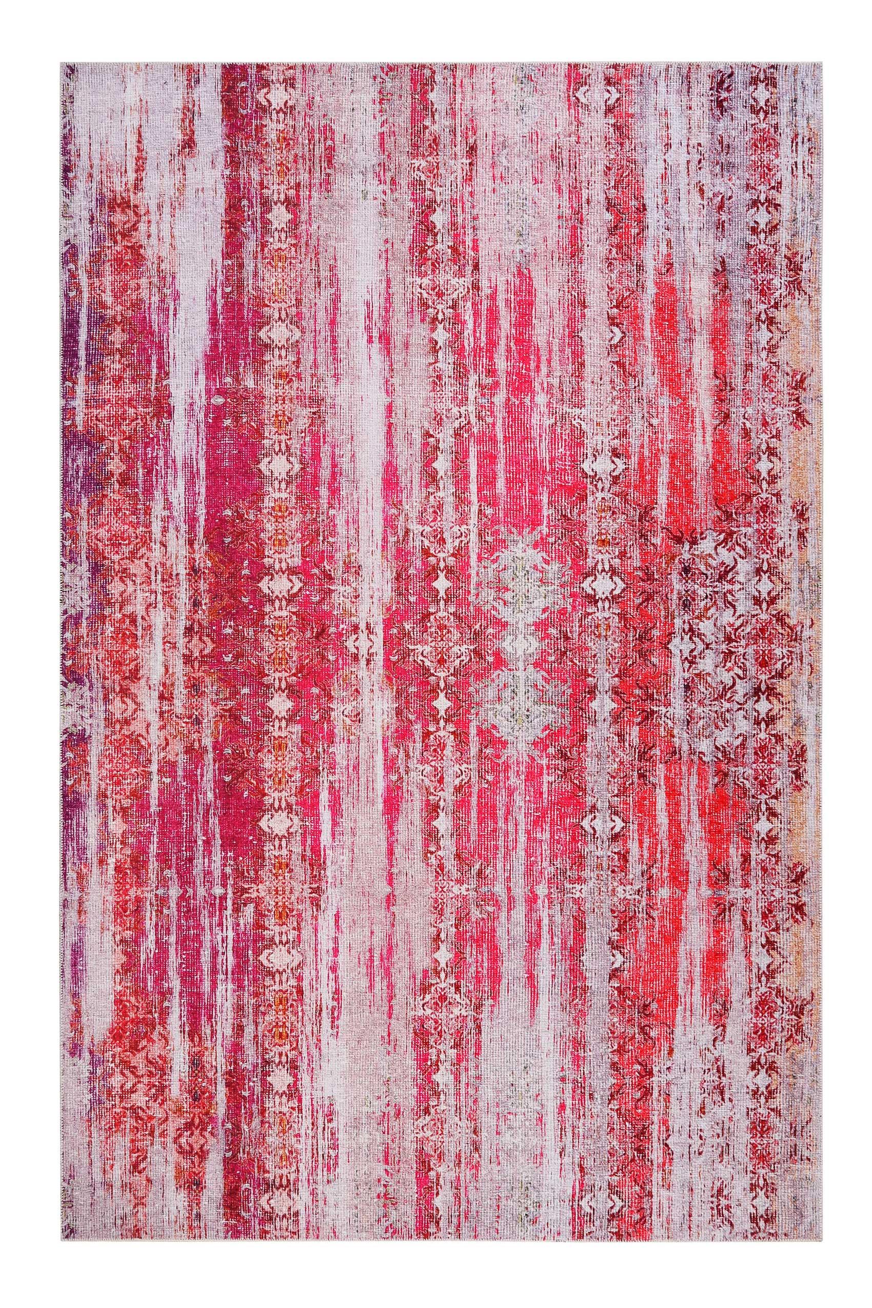 Tapis plat motif vintage rose orangé pour une déco bohème 230x160