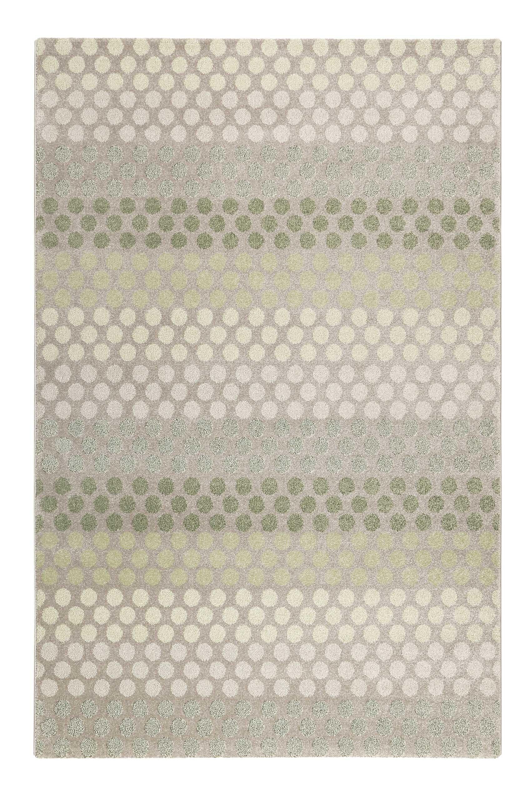 Tapis motif pois à poils courts vert/gris pour salon, chambre 170x120