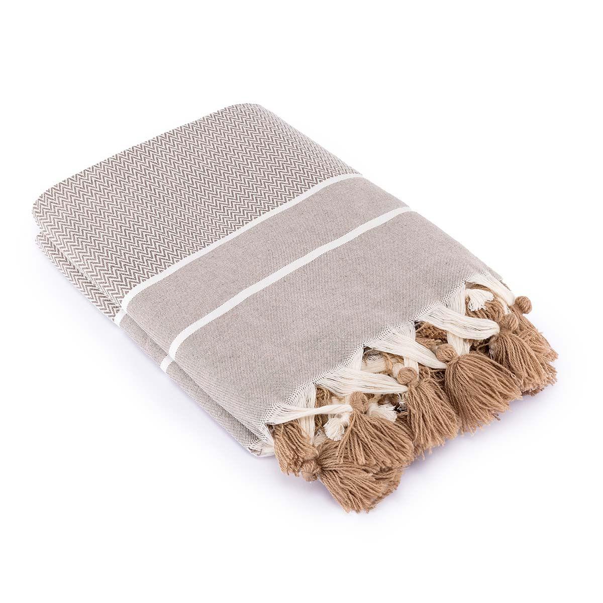 Plaid en coton 130x170 Taupe