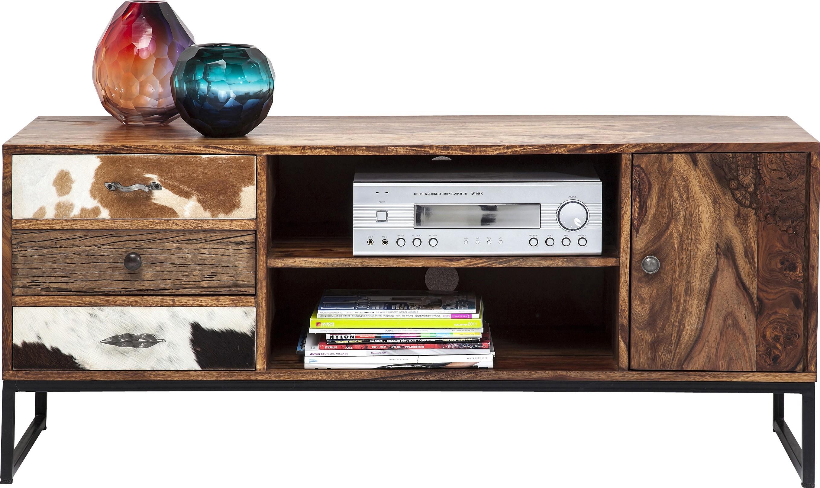 Meuble TV 3 tiroirs 1 porte en bois massif et peau de vache
