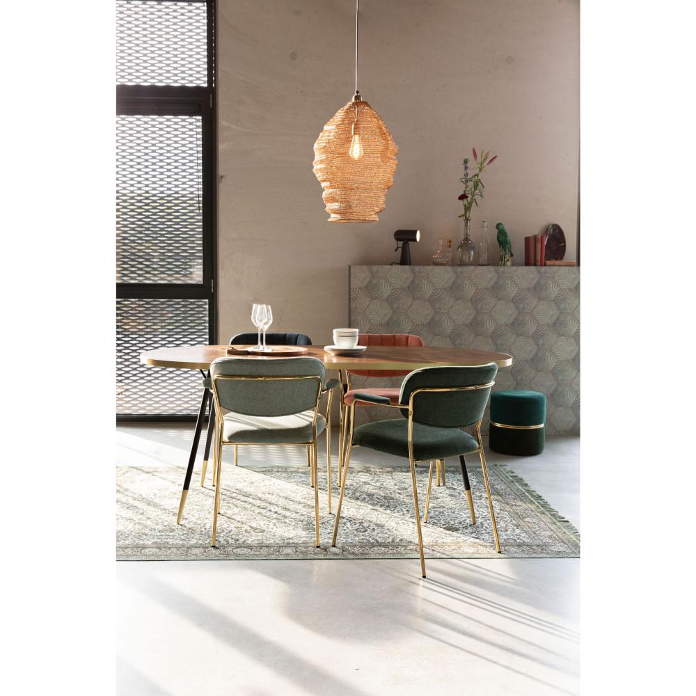 2 chaises avec accoudoirs et pieds dorés vert
