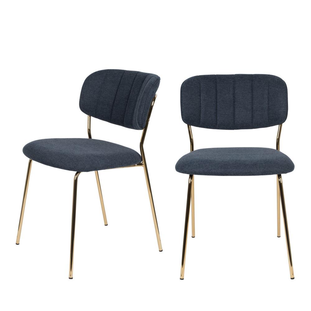 maison du monde 2 chaises pieds dorés bleu foncé