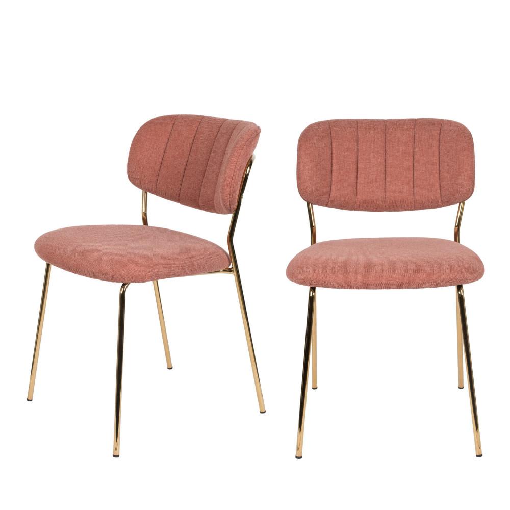 2 chaises pieds dorés rose