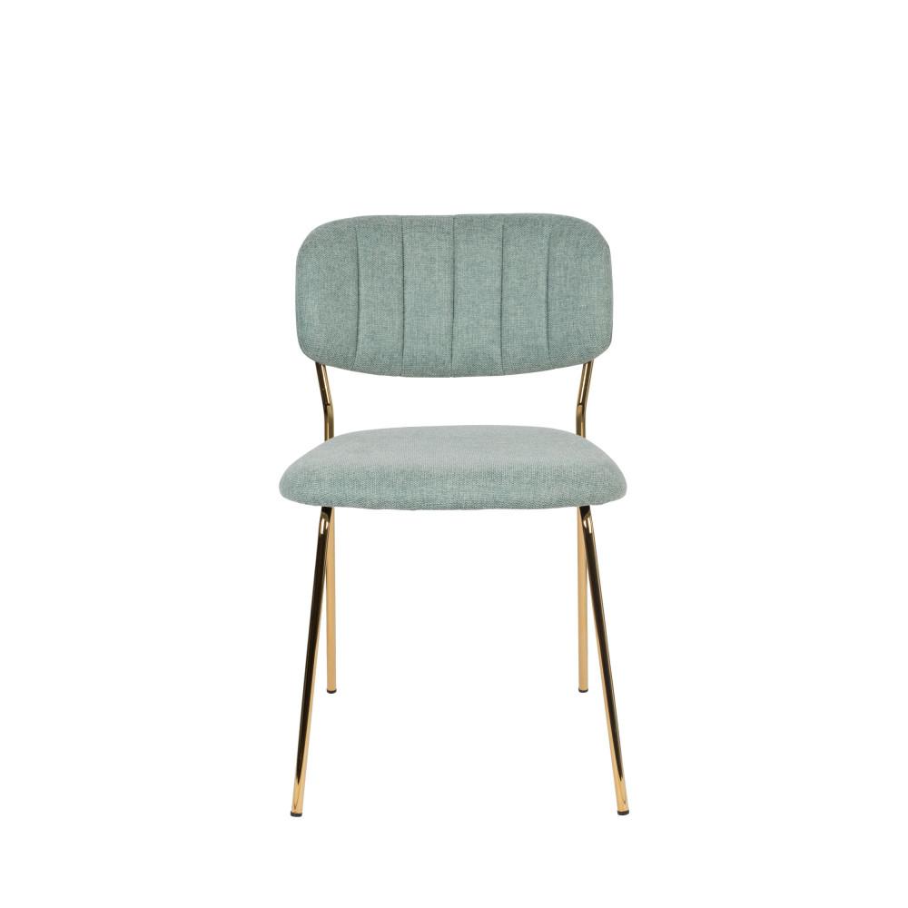 2 chaises pieds dorés vert de gris
