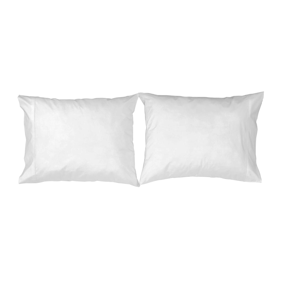 2 taies d'oreiller en coton blanc 50x75