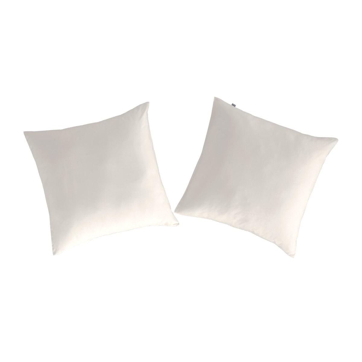 2 taies d'oreiller en coton beige 65x65