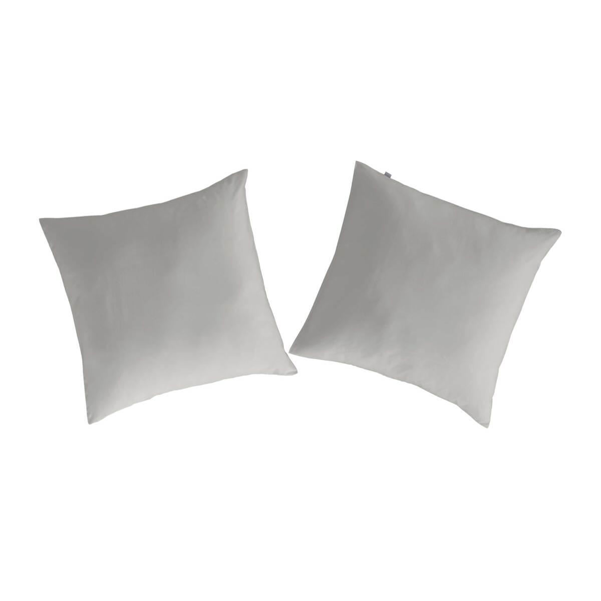 2 taies d'oreiller en coton gris 65x65