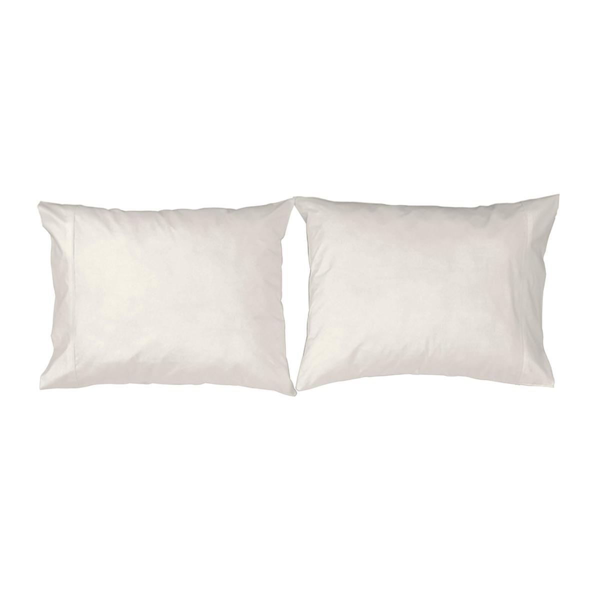2 taies d'oreiller en coton beige 50x75