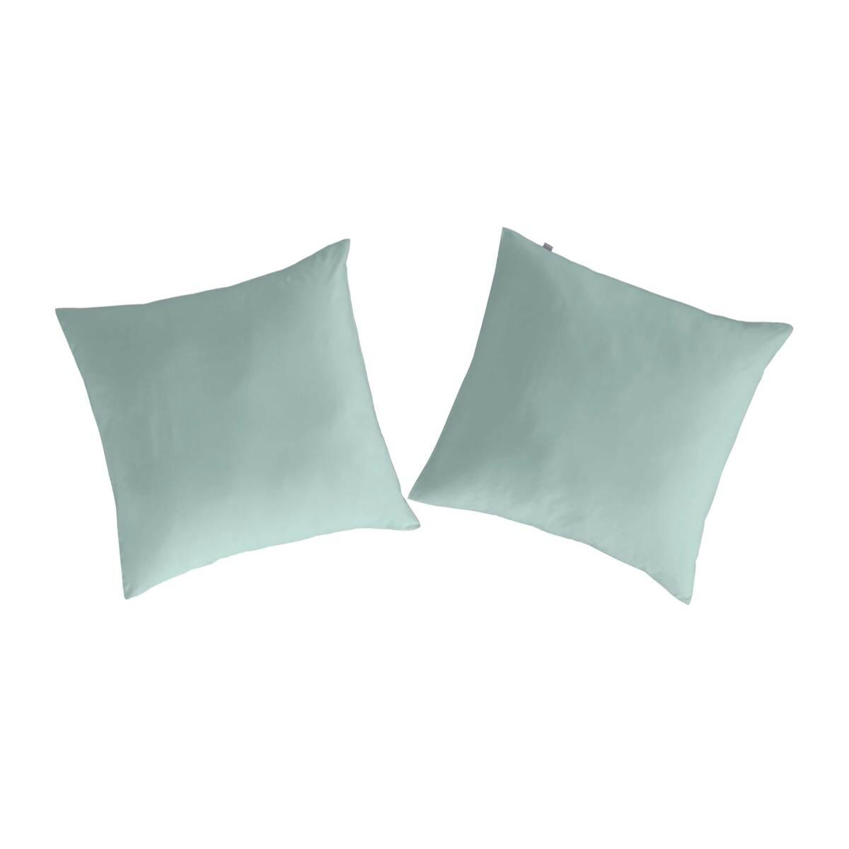 2 taies d'oreiller en coton vert 65x65