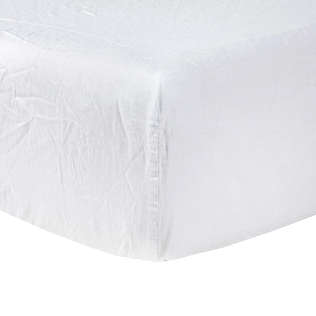 Drap housse satin Blanc 90 x 200 cm