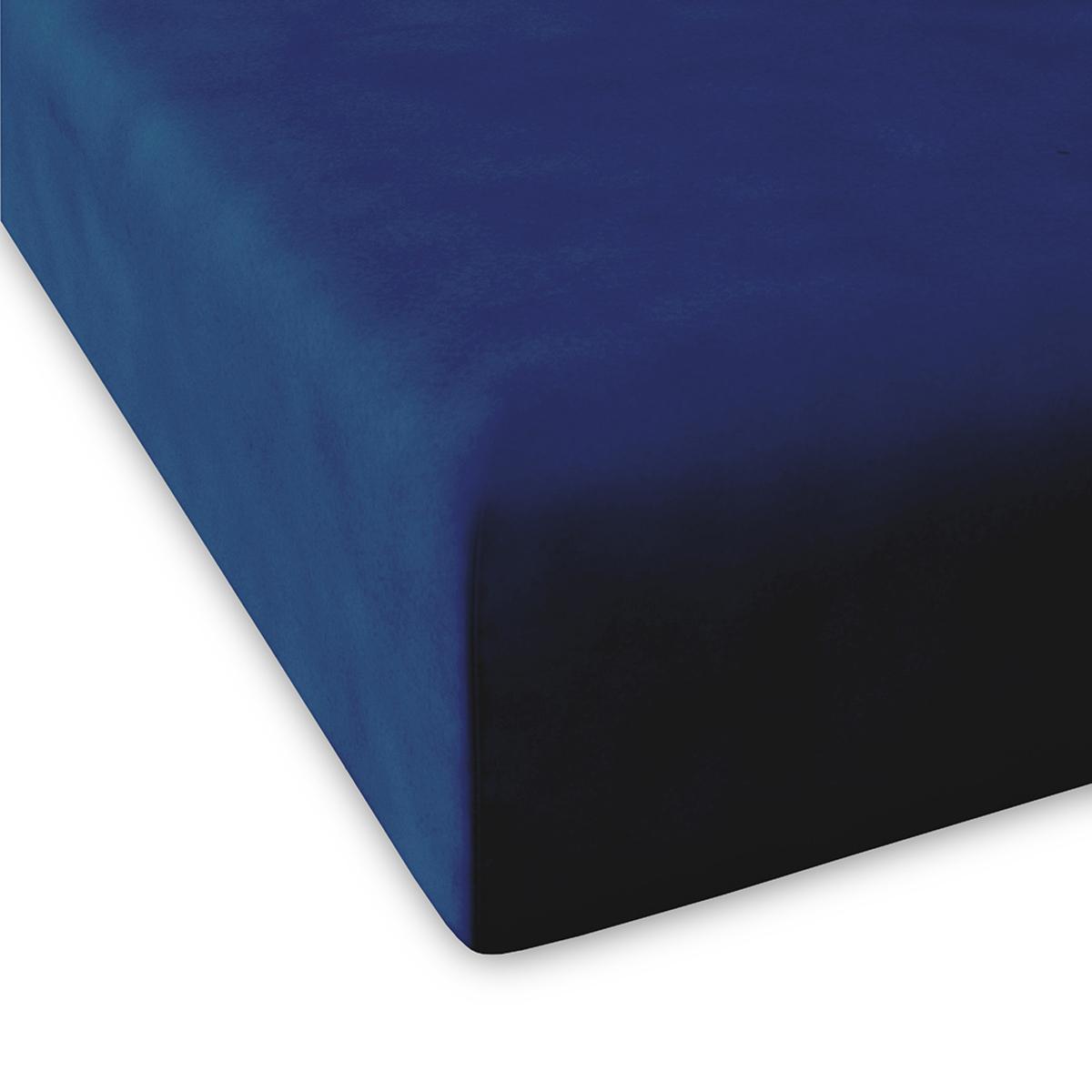 Drap housse en coton bleu marine 160x200