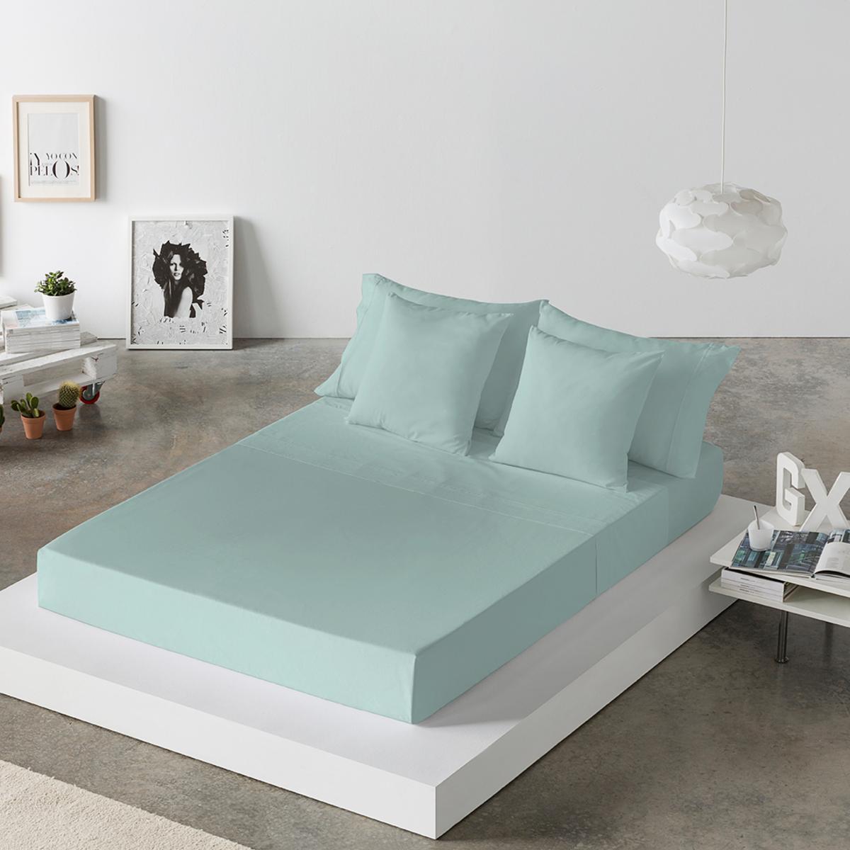 Drap de lit en coton vert 250x280