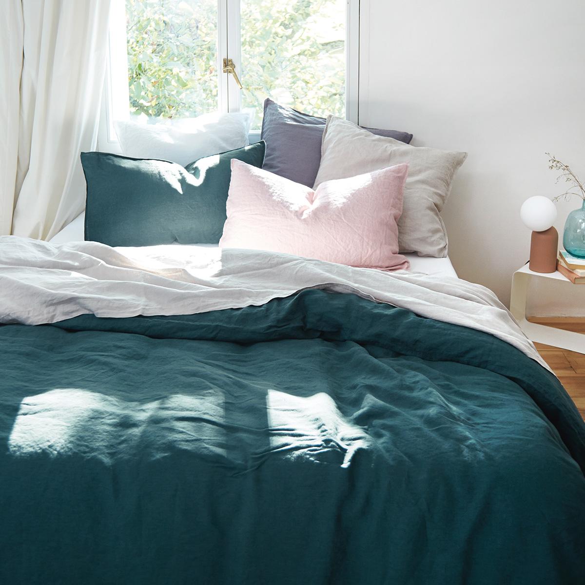 Drap plat 100 % Lin Bleu 270 x 300 cm