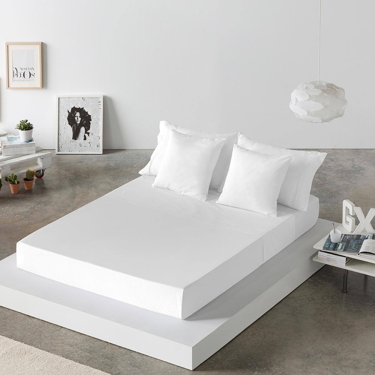 Drap de lit en coton blanc 250x280