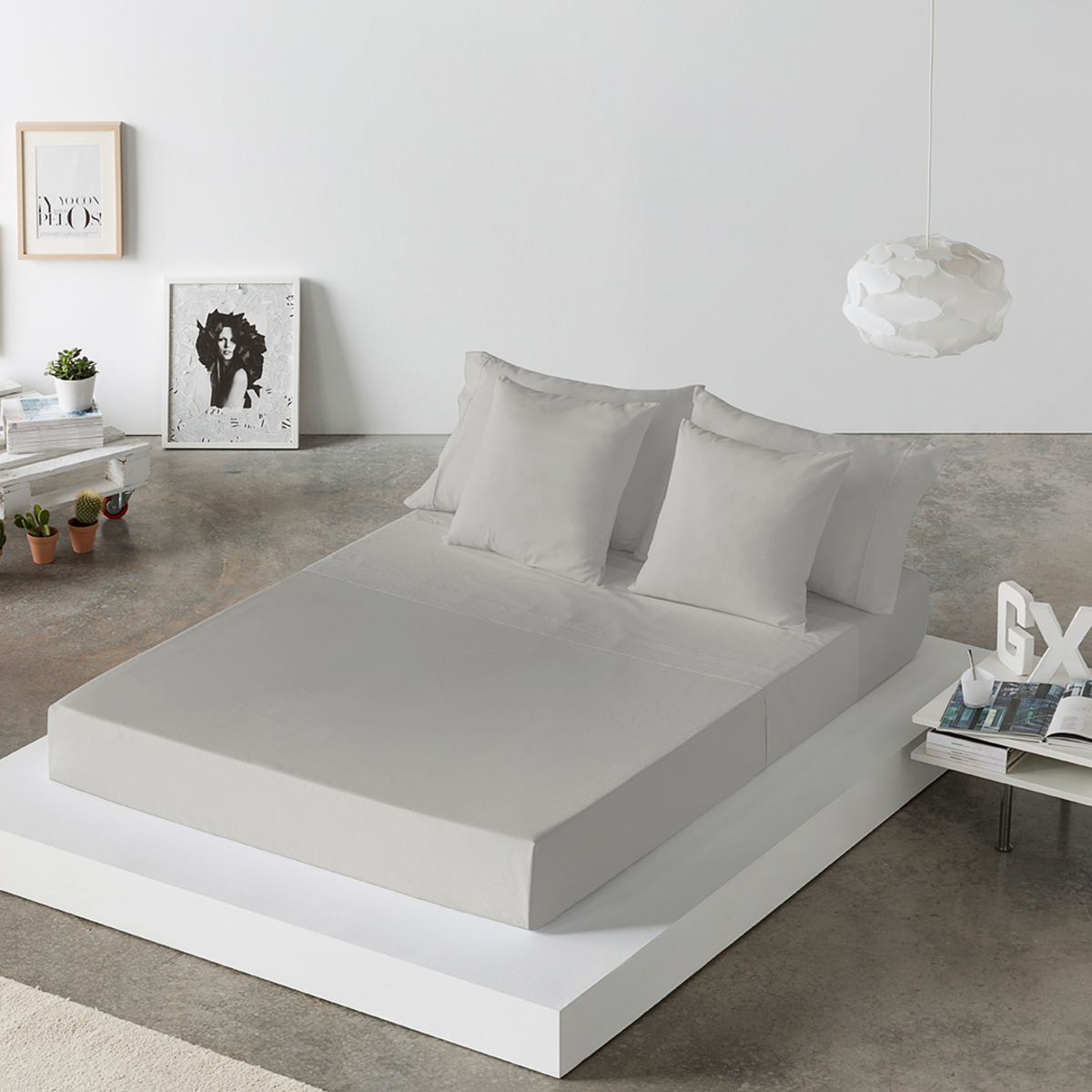 Drap de lit en coton gris 160x280