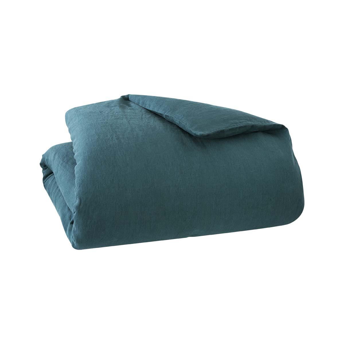 Housse de couette 100 % Lin Bleu 140 x 200 cm