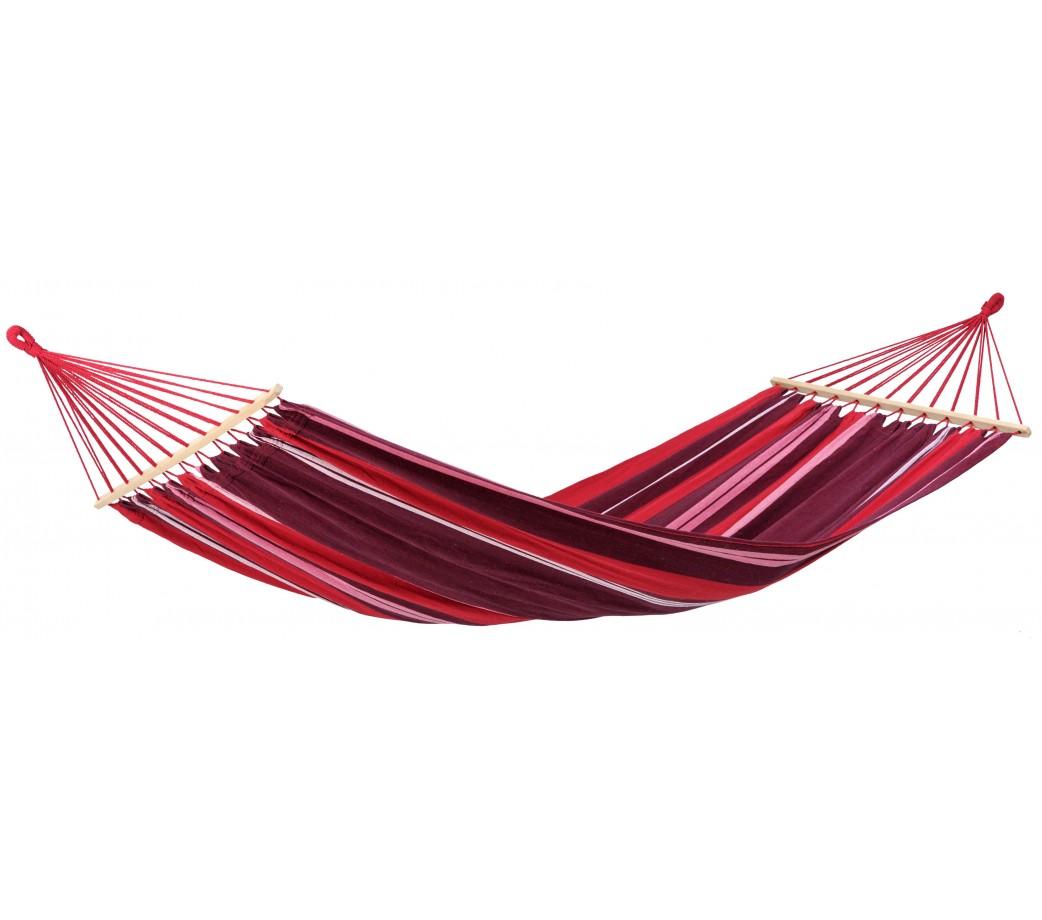 Hamac simple à barre en tissu rayé rouge et violet