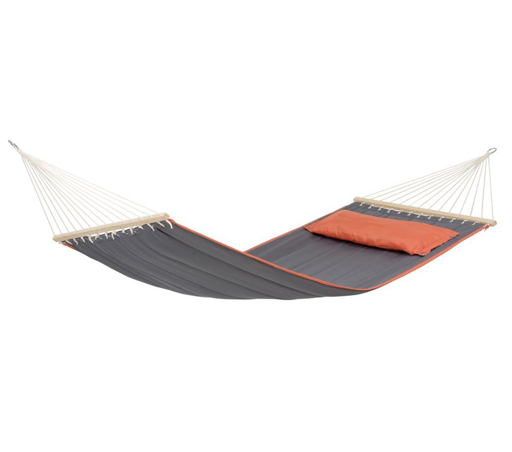 Hamac à barre avec coussin en tissu gris