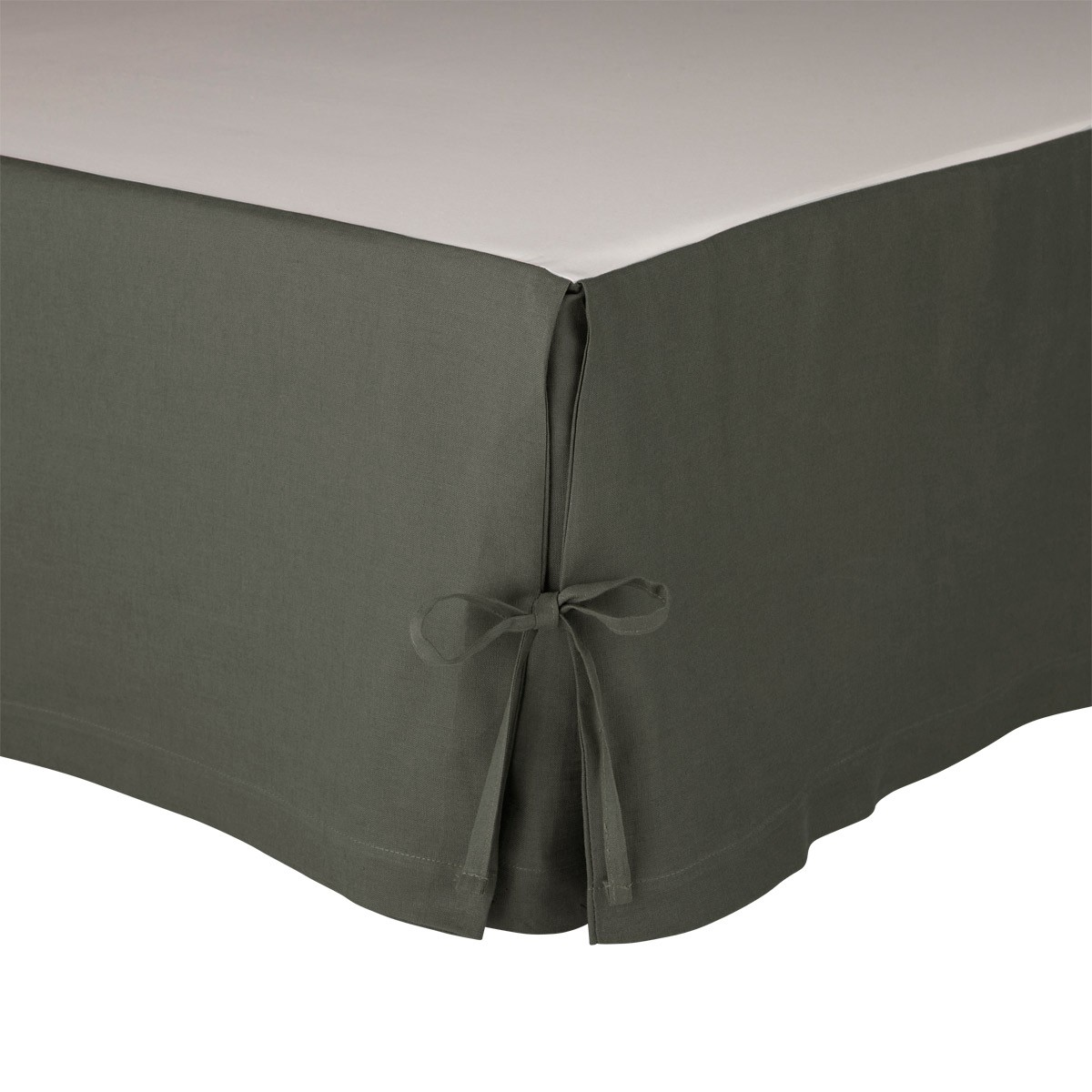 Cache sommier Lin Anthracite 90 x 190 cm (photo)