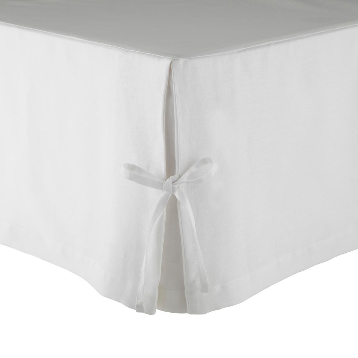 Cache sommier Lin Blanc 140 x 200 cm (photo)