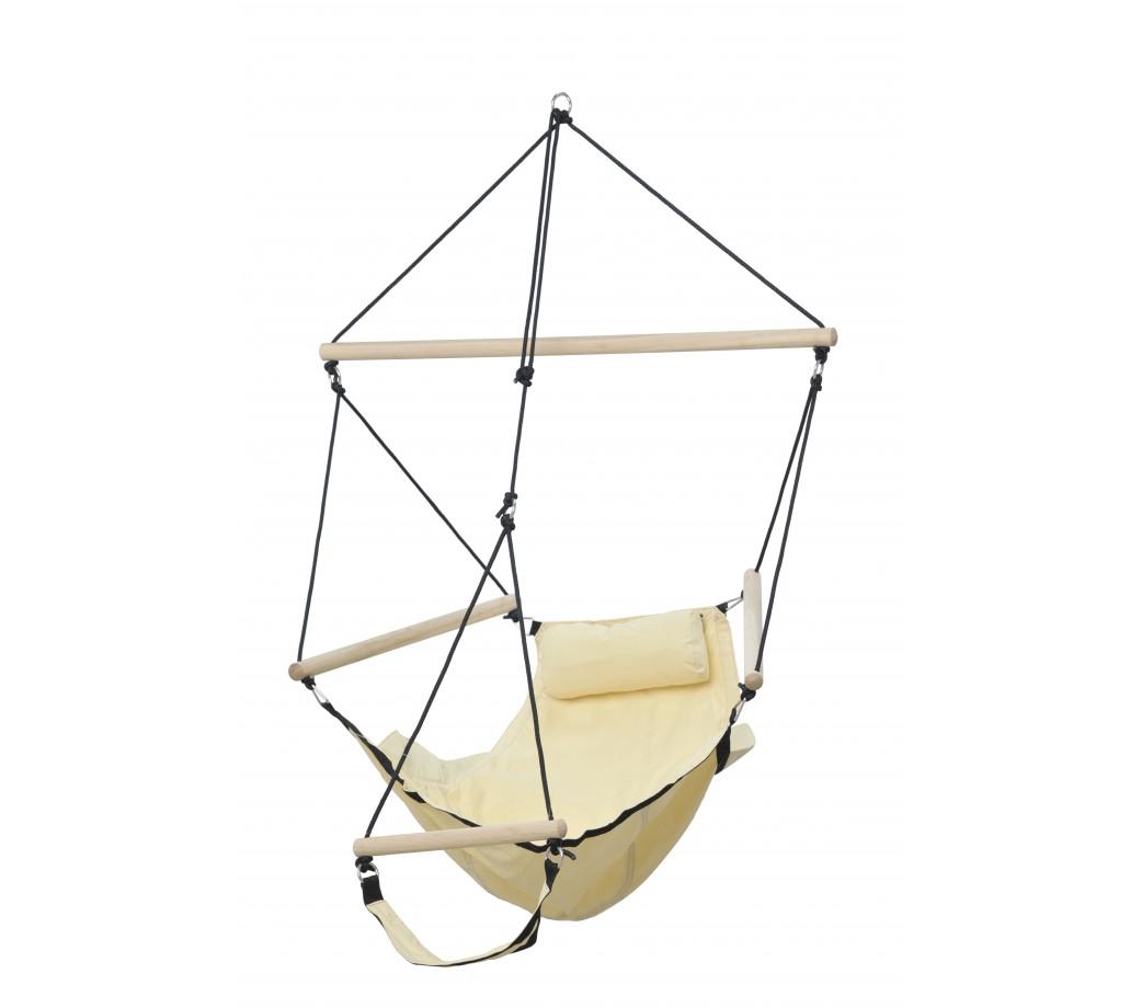 Chaise hamac suspendu avec repose pied en toile sable beige