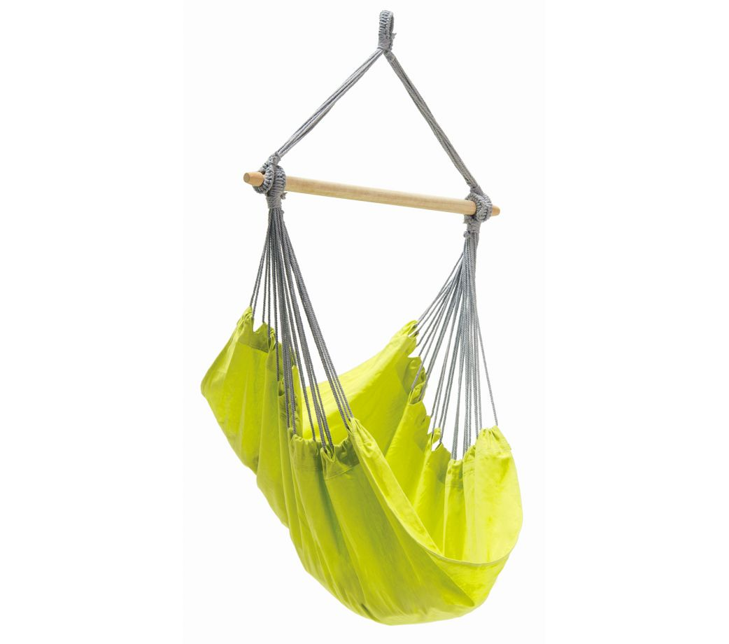 Chaise hamac suspendu en coton recyclé jaune kiwi