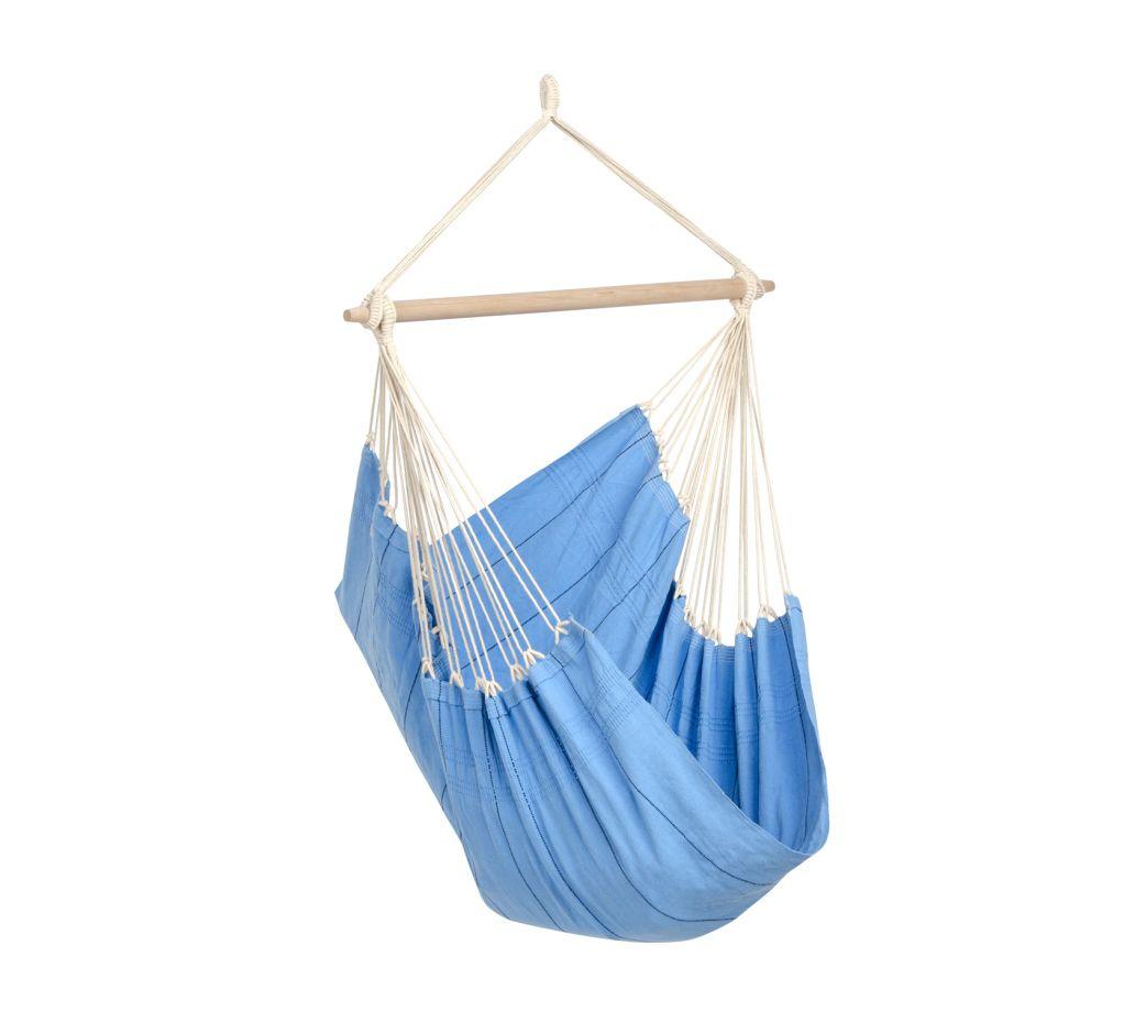Chaise hamac suspendu en coton bleu clair