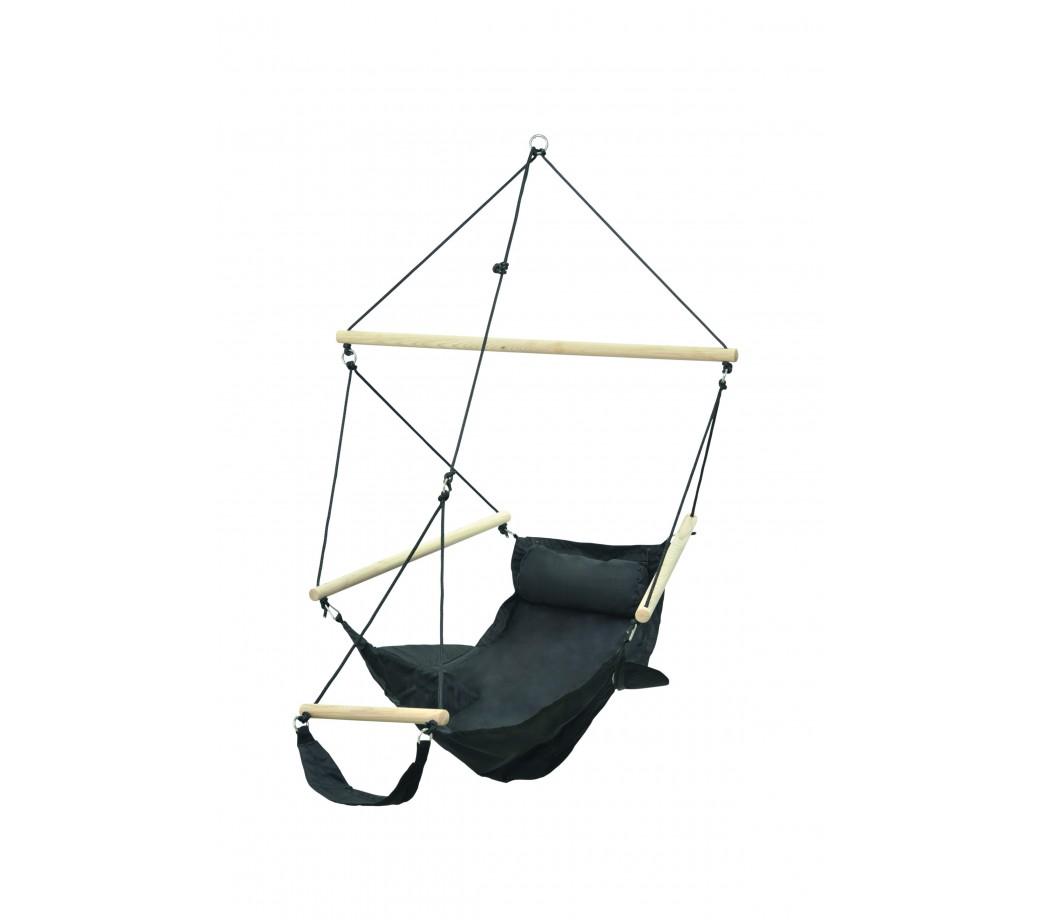 Chaise hamac suspendu avec repose pied en toile noir