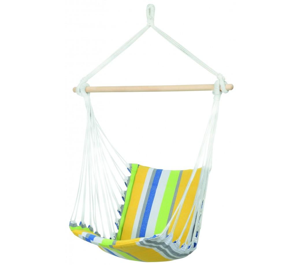 Chaise hamac suspendu en tissu rayé vert et jaune
