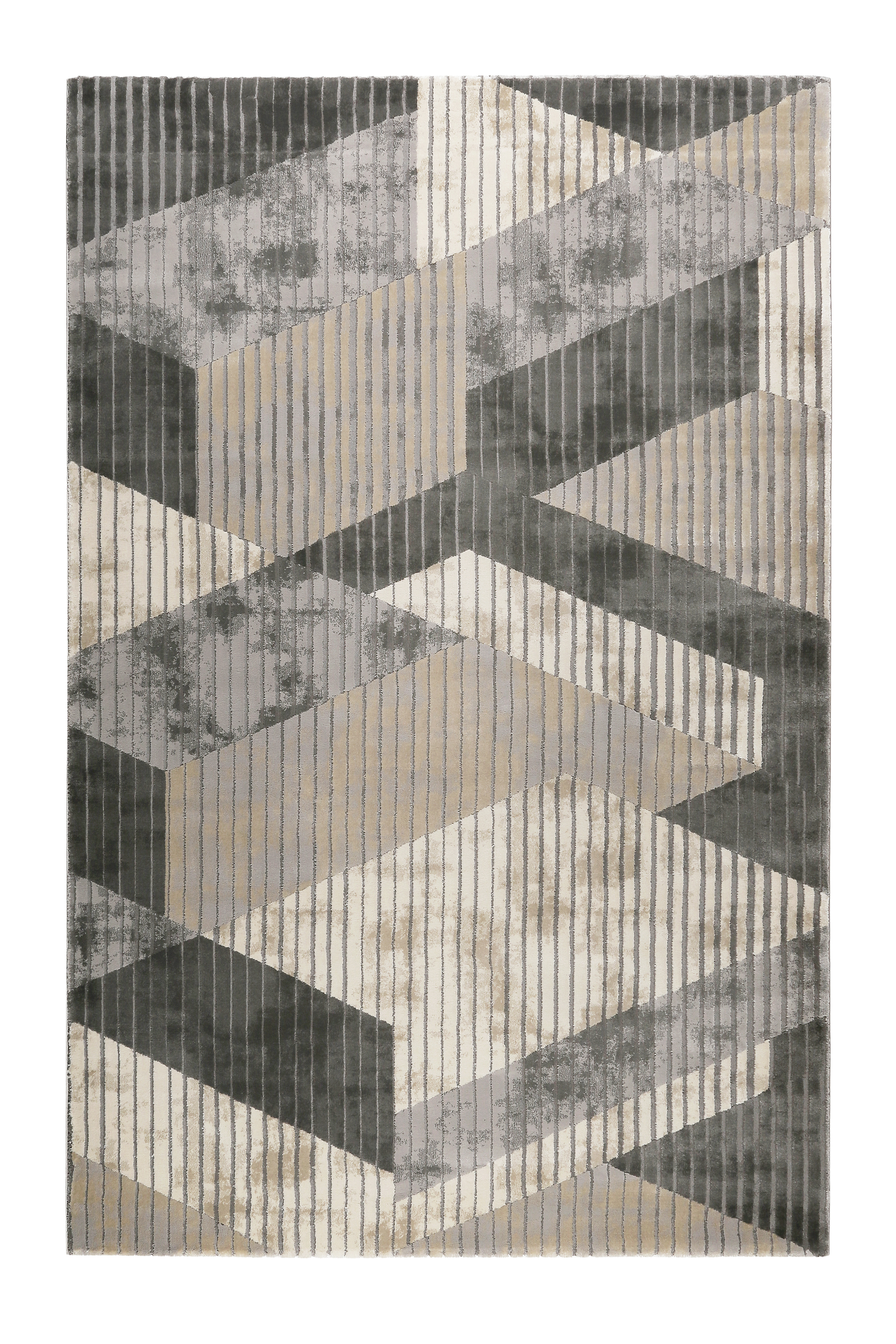 Tapis motif effet 3D relief tons de gris pour salon/chambre 290x200