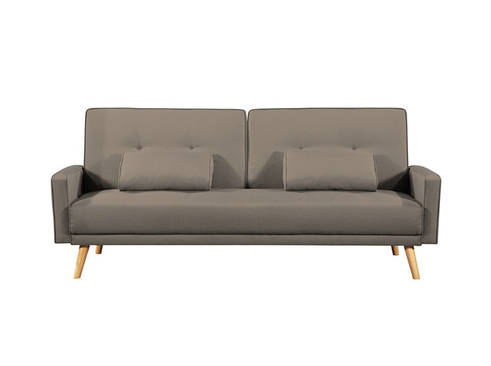 Canapé droit convertible 3 places en tissu taupe