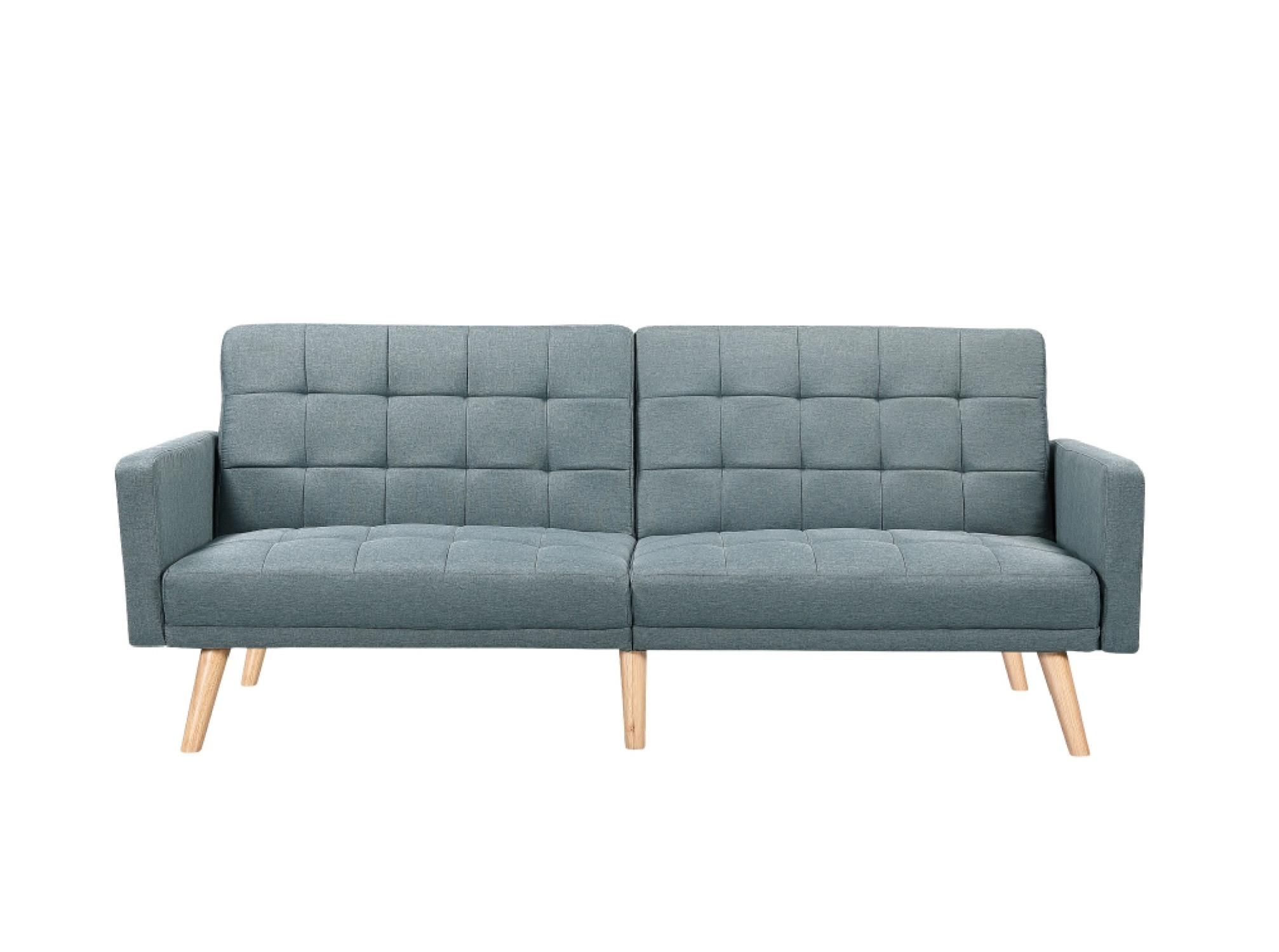 Canapé droit scandinave 3 places convertible en tissu bleu/gris