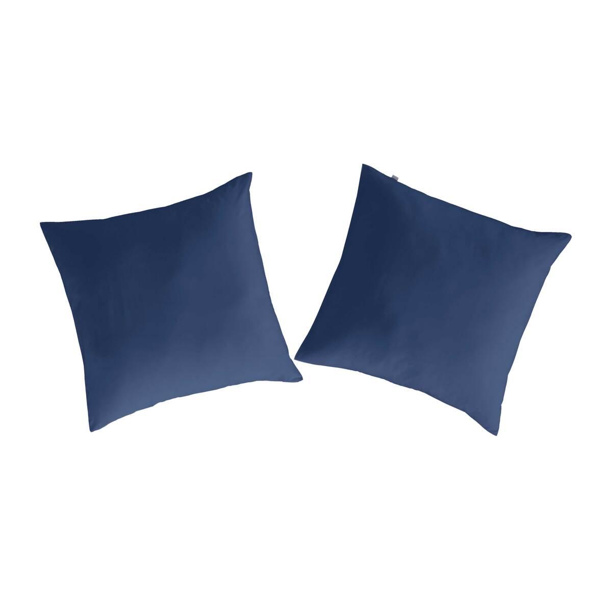 2 taies d'oreiller en coton bleu marine 80x80