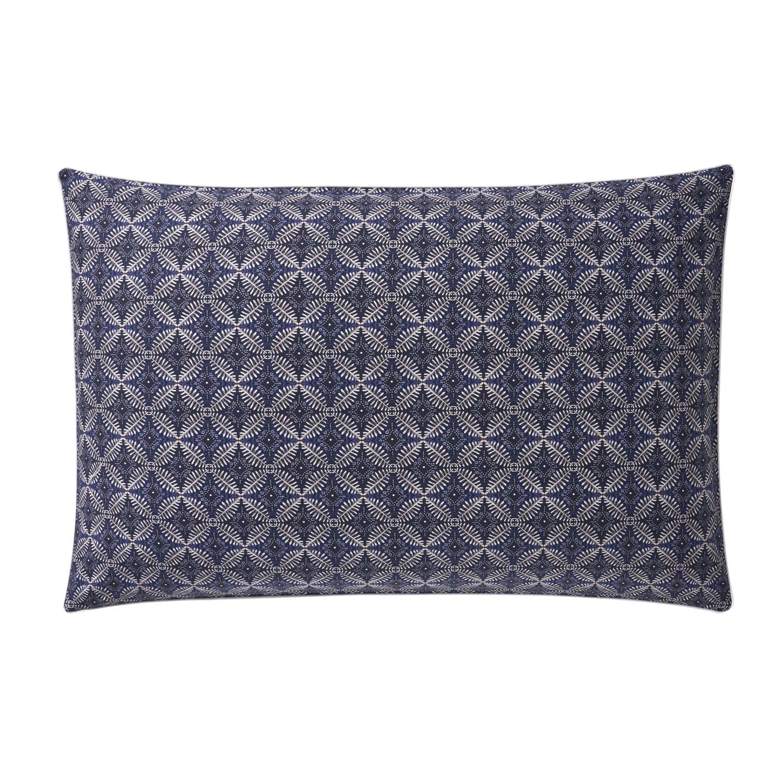 Taie d'oreiller rectangle en coton bleu 50x75