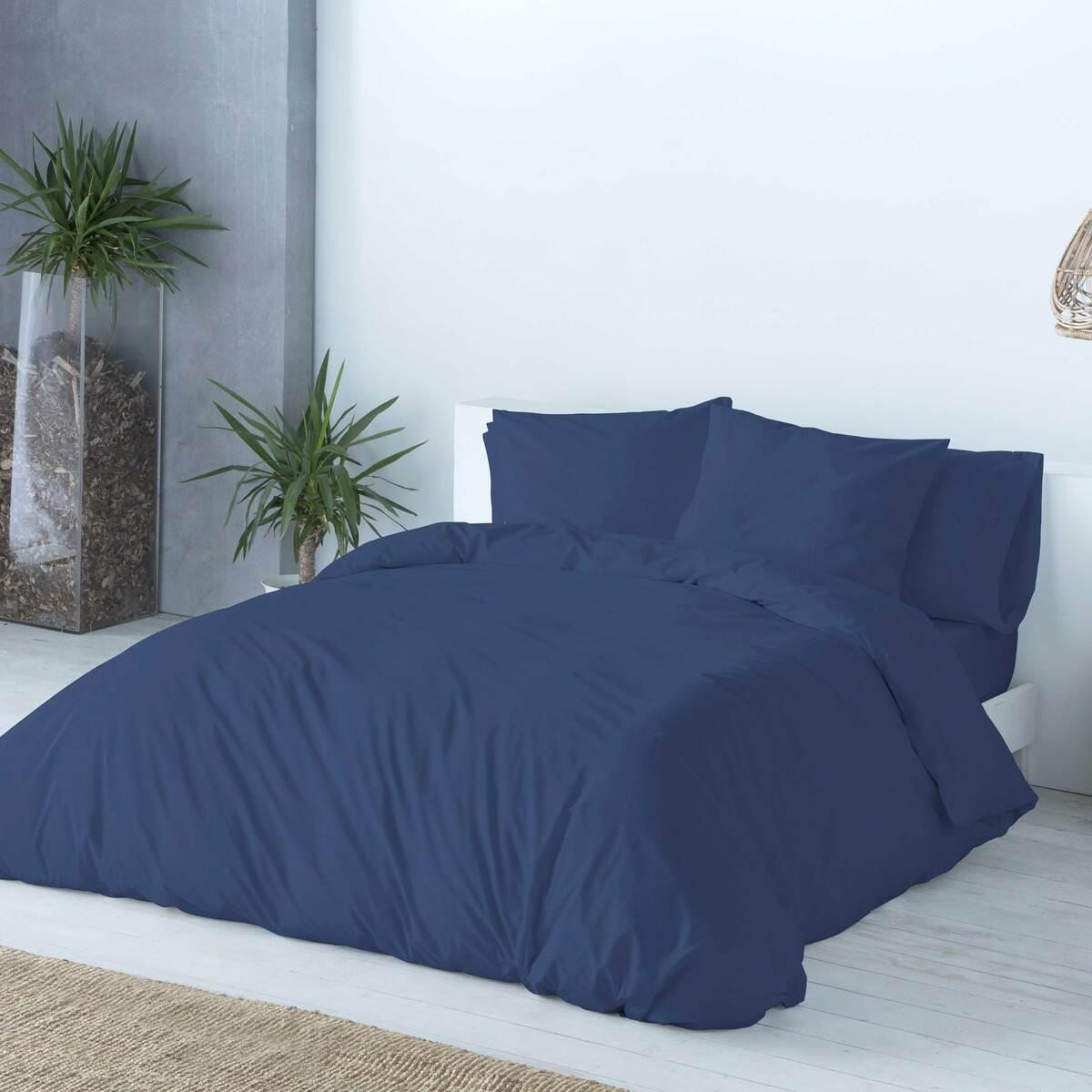 Housse de couette en coton bicolore réversible 140x200