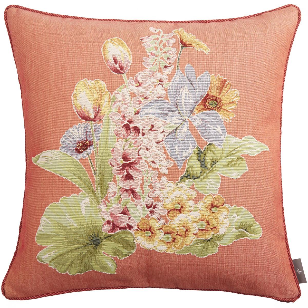 Coussin tapisserie bouquet de fleurs Orange 50 x 50