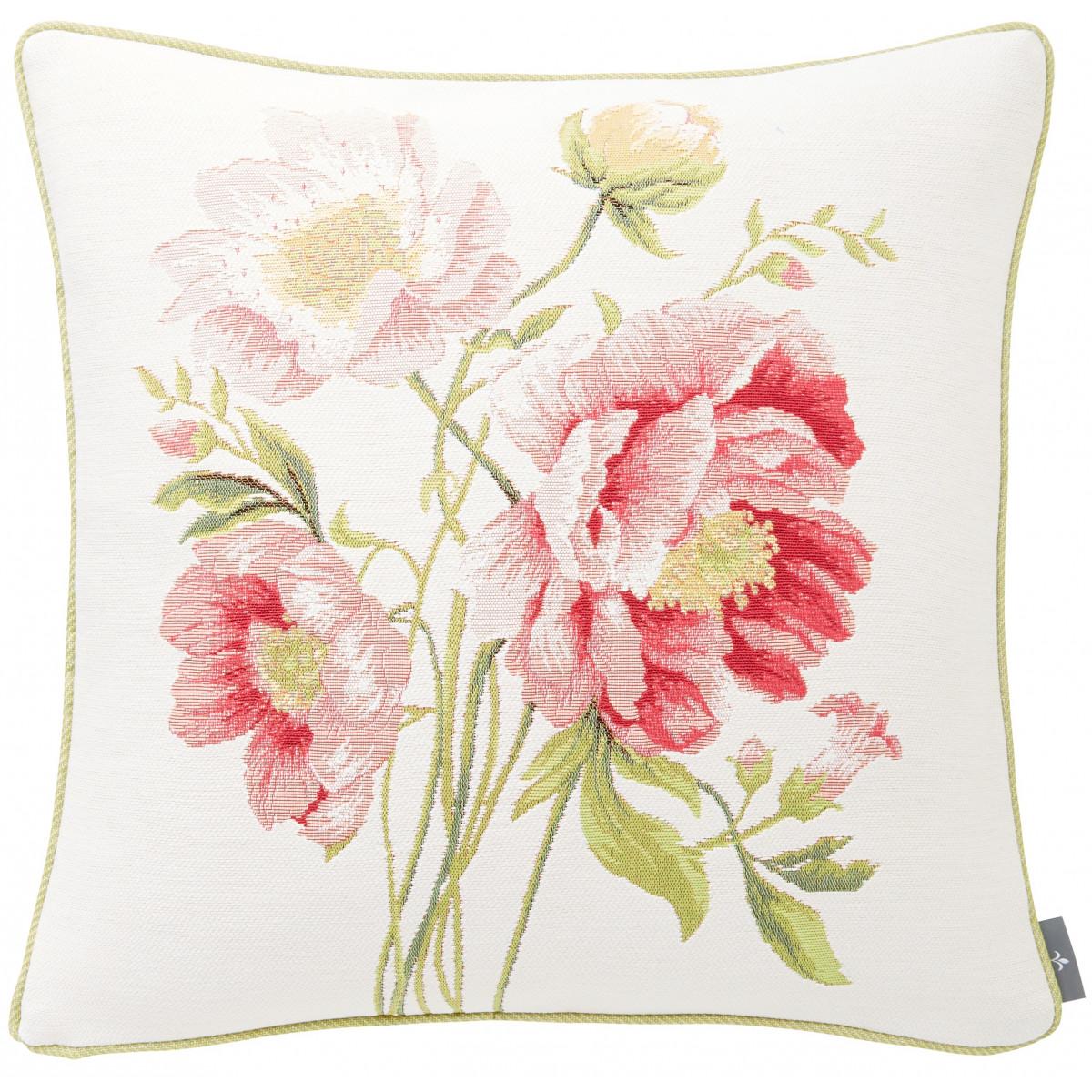 Coussin tapisserie bouquet pivoines Blanc 50 x 50