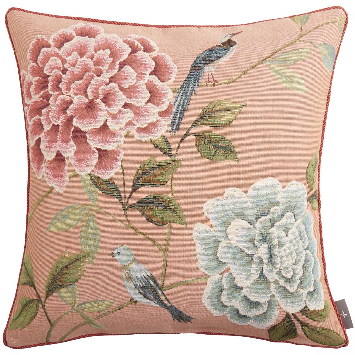 Coussin tapisserie fleurs oiseaux bleus Rose   50 x 50