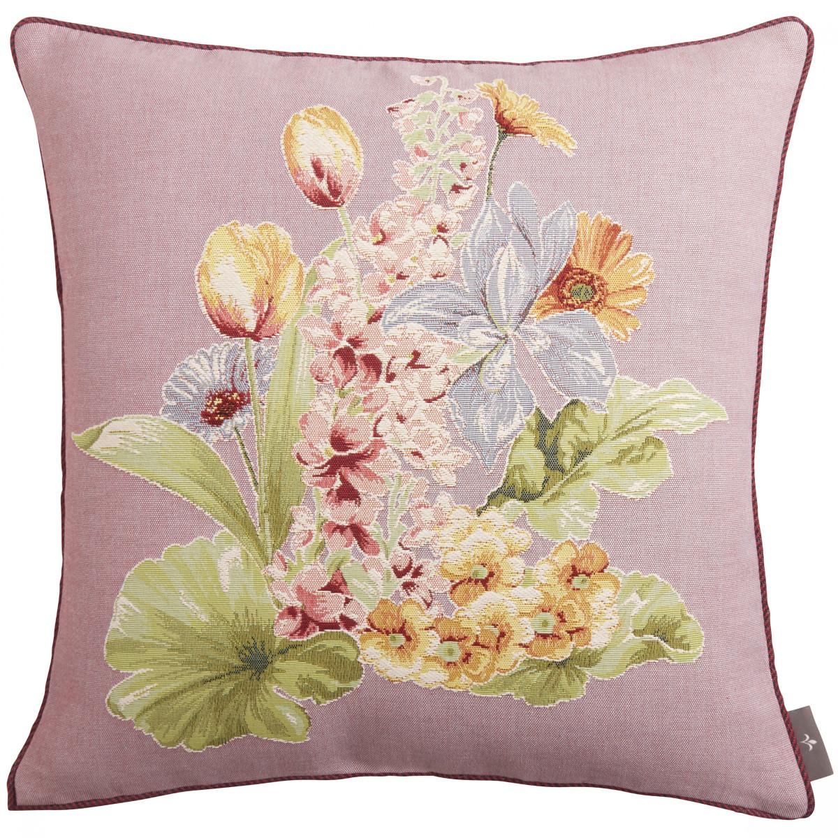 Coussin tapisserie bouquet de fleurs Violet 50 x 50