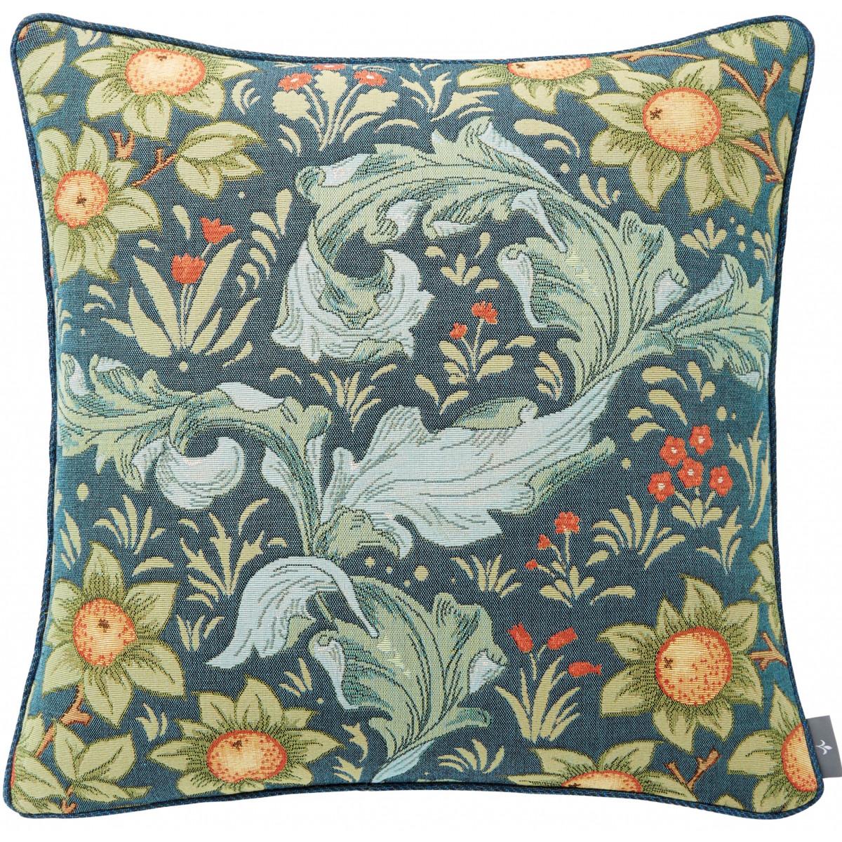 Coussin tapisserie oranger Bleu 50 x 50